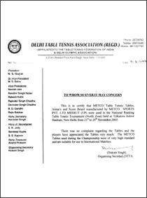 Certificate of table tennis fedration of india